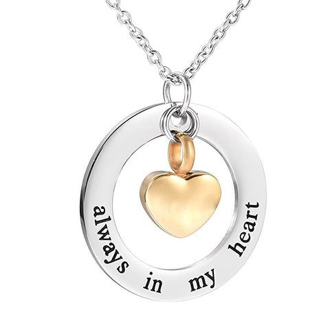 """ Always in My Heart "" Pendant Urn for Cremation Ashes - Cremation Jewelry"