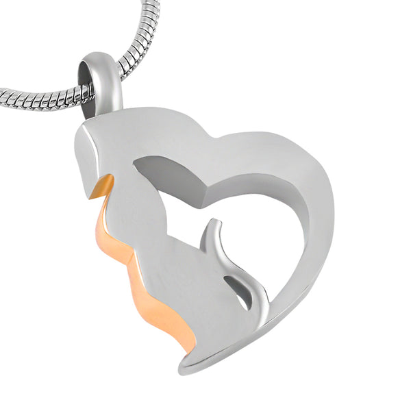 Cat in a heart Cremation Urn Pendant - Cremation Jewelry