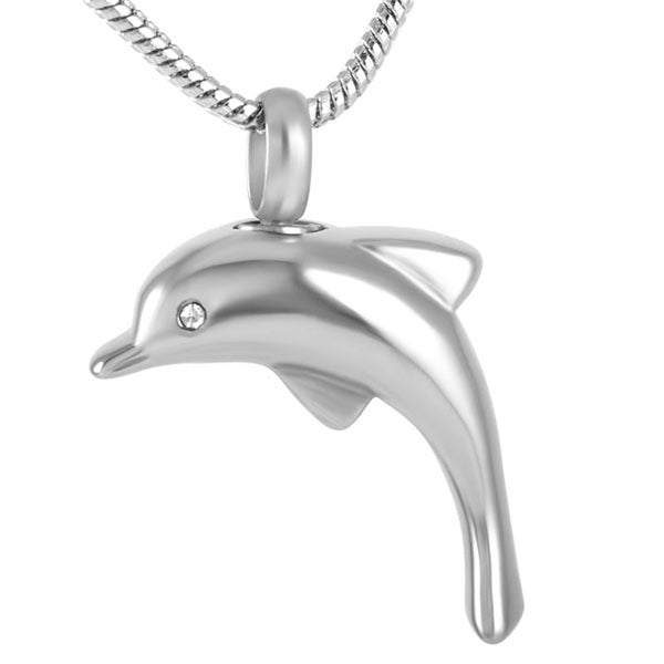 Dolphin Fish Design With Crystal -  Cremation Jewelry Pendant Necklace ashes