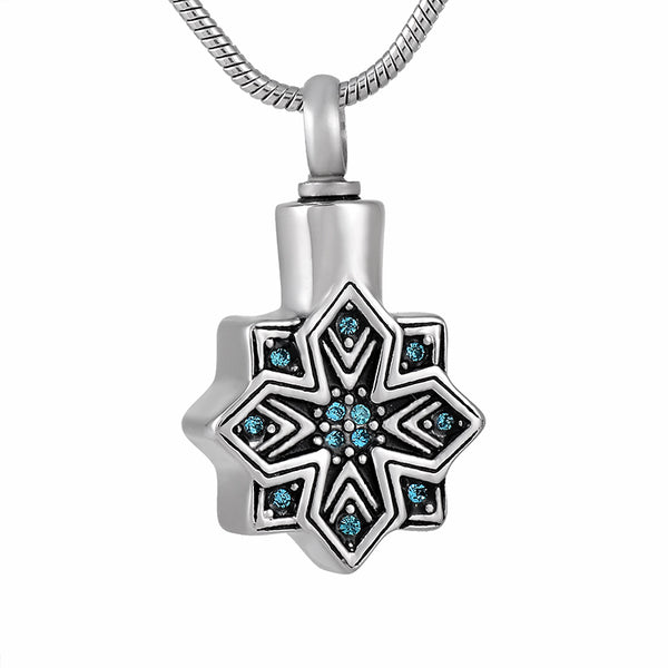 Snowflake Crystal -  Crystal Flower Memorial Urn Pendant for Cremation Ashes - Cremation Jewelry
