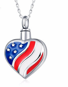 Cremation Keepsake American Flag Heart Shaped Pendant Urn for cremation ashes