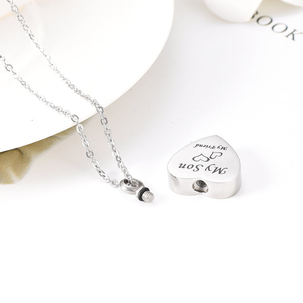 """ My Son My Friend "" Engraved Cremation Heart Urn Pendant Necklace - Cremation Jewelry"