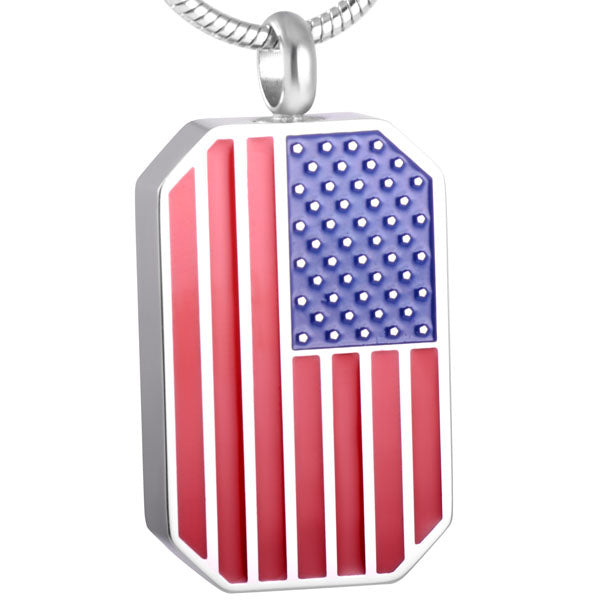The American flag Dog tag Stainless Steel Cremation Pendant Memorial Ashes Urn  Necklace - Cremation Jewelry