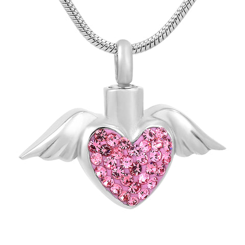Angel Heart with Angel Wings and Center Stone  - Urn Necklace Pendant for Cremation Ashes