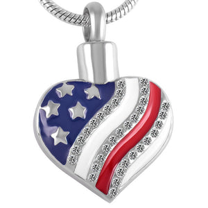 American Flag Heart Memorial Urn Ashes Necklace - Cremation Jewelry Pendant Necklace