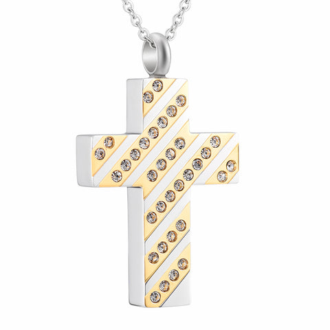 """ Christian Cross"" design with Crystal Inlay Urn Pendant Necklace"