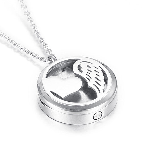 Locket Cremation Jewelry Heart with Angel Wing - Urn Pendant Necklace - Cremation Jewelry