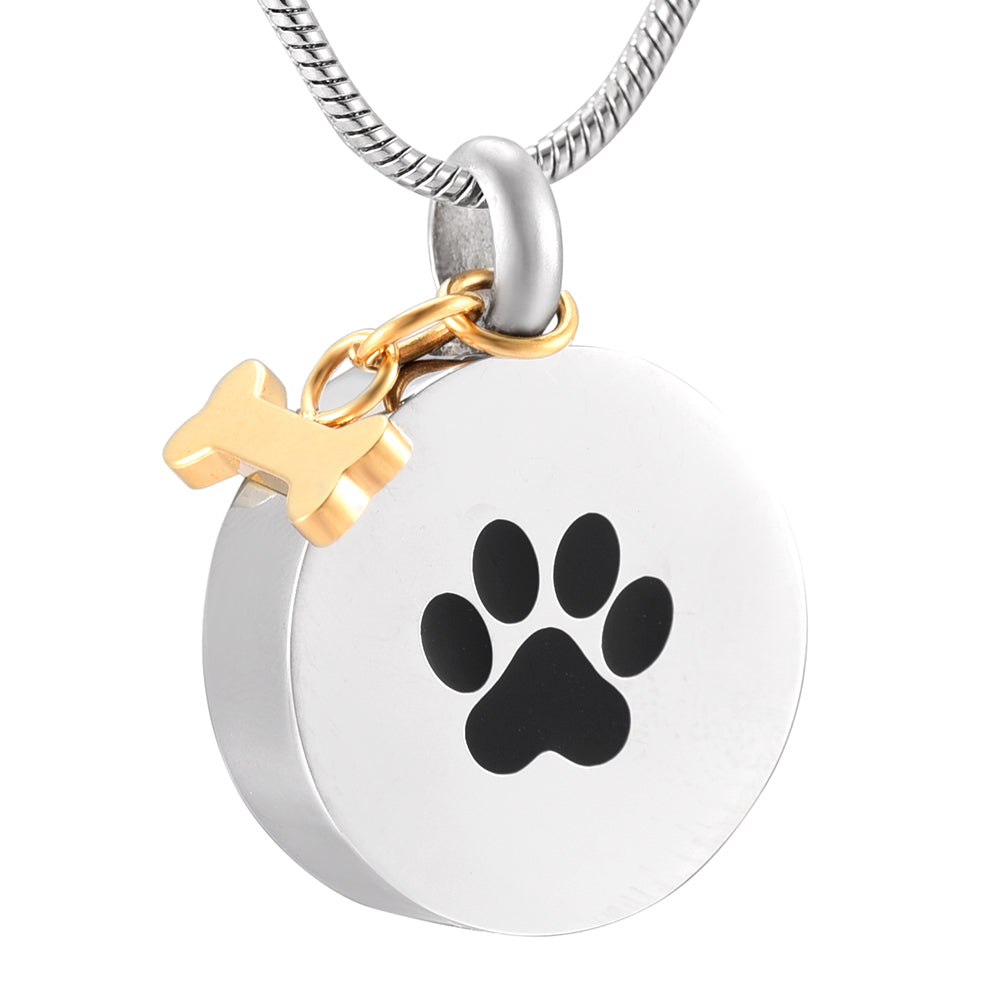Dog Paw Print in a Round Shape Stainless Steel Memorial Urn Necklace Pendant with a side bone - Cremation Jewelry