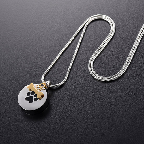Dog Paw Print in a Round Shape Urn Necklace Pendant with a side bone - Cremation Jewelry