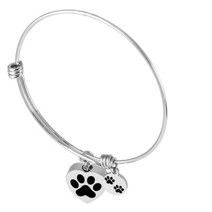 Pet Dog Paw Bangle Stainless Steel Ash Pendant Cremation Jewelry Urn Bracelet
