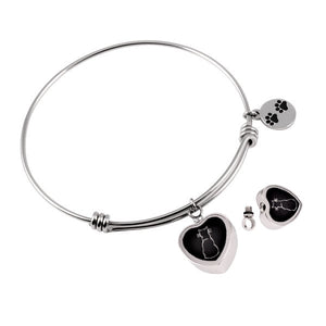 Pet - Black Heart with Dog Paw Bangle Stainless Steel Bracelet for Cremation Jewelry - Urn Charms