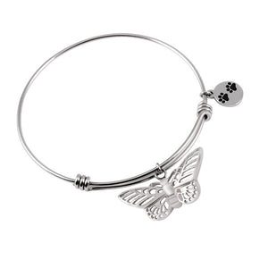 Pet - Butterfly with Dog Paw Bangle Stainless Steel Bracelet for Cremation Jewelry - Urn Charms