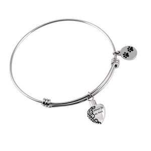 Pet - Heart and Dog Paw Bangle Stainless Steel Bracelet for Cremation Jewelry - Urn Charms
