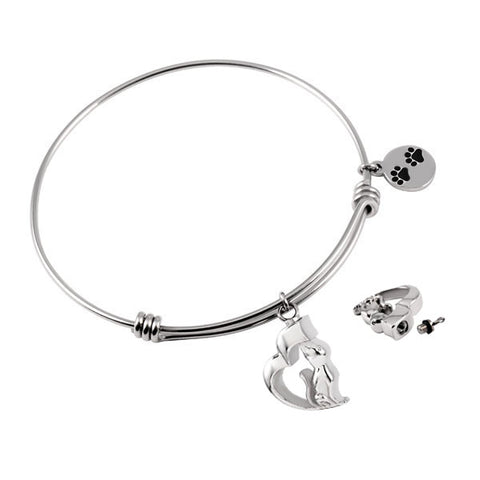 Cat Pet Paw Bangle Stainless Steel Bracelet for Cremation Jewelry - Urn Charms