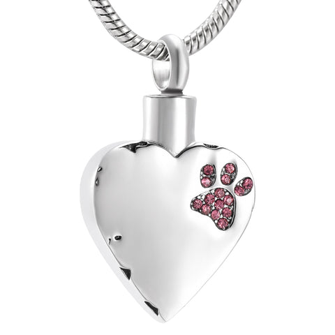 Heart cremation urn necklace pendant with Pink Crystal