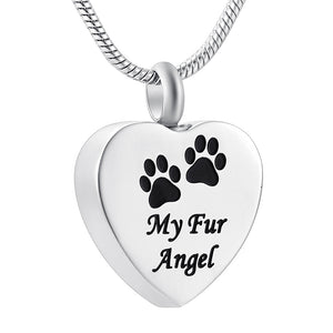 "' My Fur Angel "" Pet Memorial Jewelry Dog or Cat Paw on Heart - Cremation Urn Necklace with Pendant"