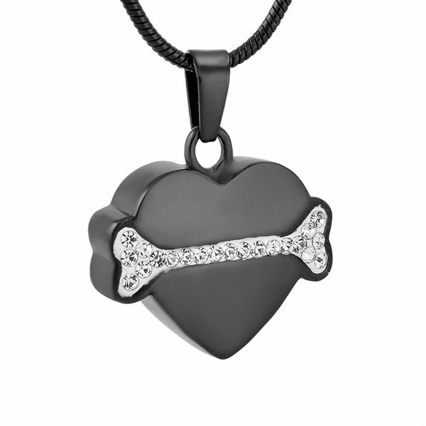 Pet - Dog Bone On My Heart pendant urn - Cremation Jewelry