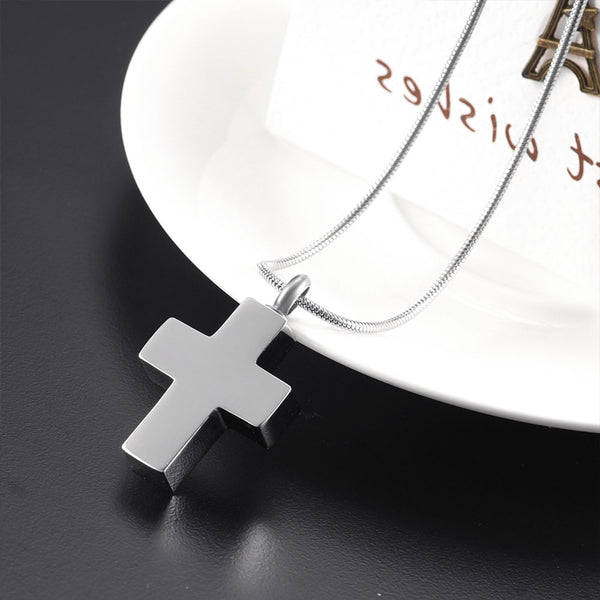 Christian Cross Ashes Urn Necklace Keepsake  - Religious Cross Cremation Pendant Jewelry