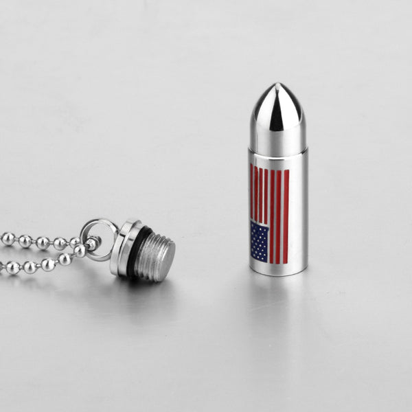 The United States Flag Bullet Necklace   - Cremation Jewelry Ashes Urn Pendant