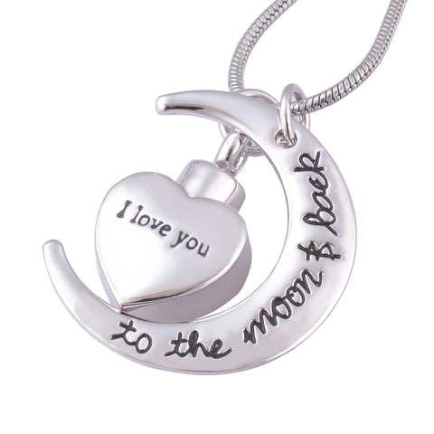 I Love You to the Moon and Back Urn Necklace for Cremation Ashes - Memorial Keepsake Cremation Pendant Jewelry