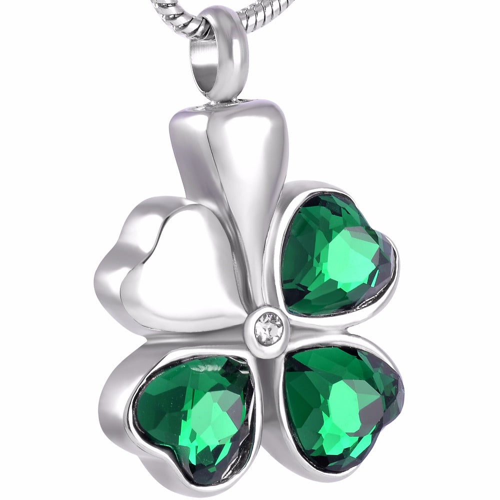 Four Leaves Clover Cremation Urn Pendant Necklace