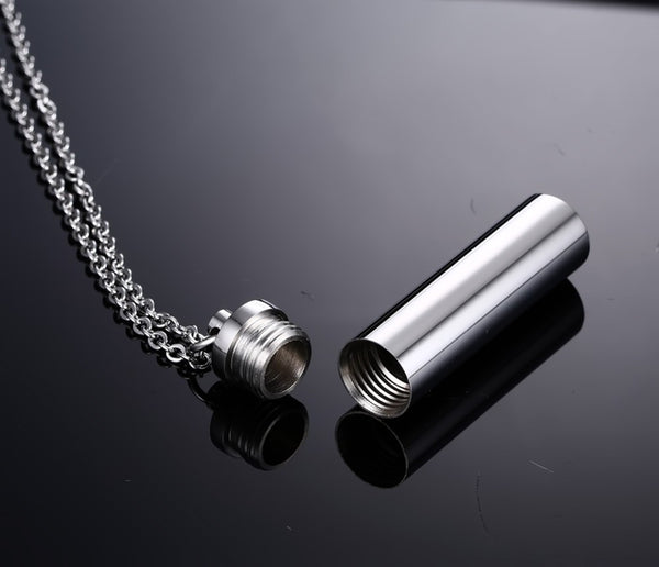 Stainless Steel Urn Necklace Pendant  - Ash Holder - Chain 24""