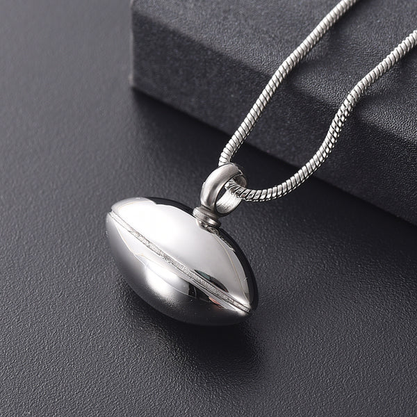 American Football - Stainless Steel Urn Pendant for cremation ashes.