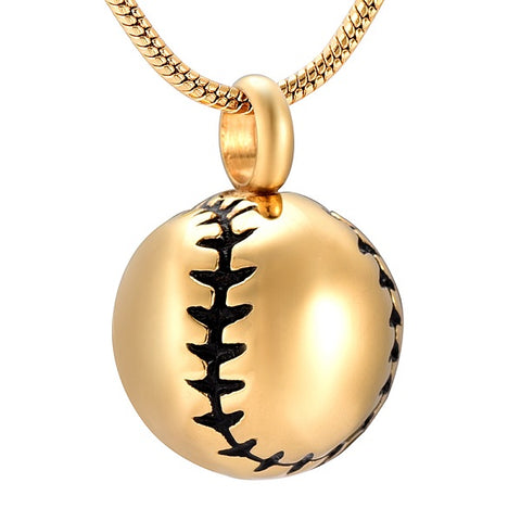 Baseball Design Cremation Ashes Keepsake Urn Pendant - Gold Color