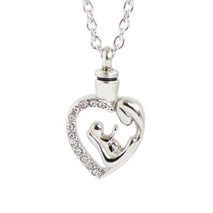 Silver Cremation Pendant - Mother and Child - Urn Of Memories