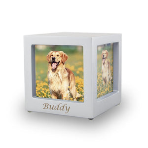 Silver Photo Cube Cremation Urn - Extra Small - Urn Of Memories