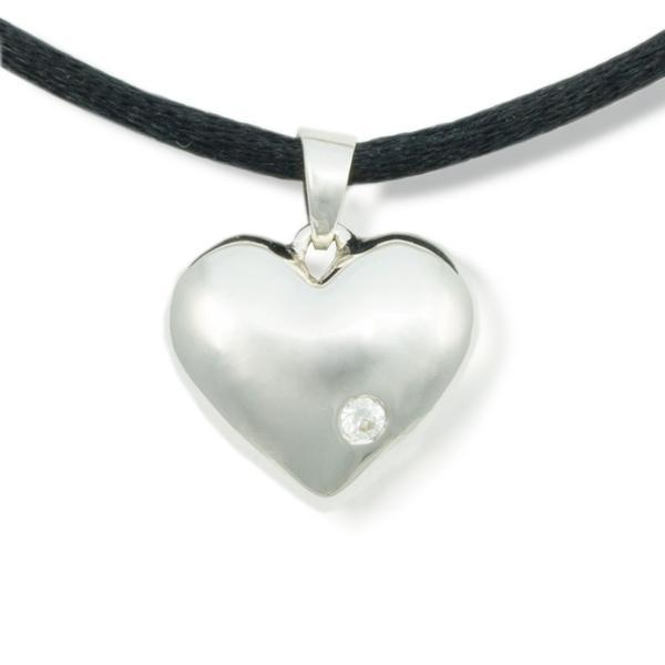 Sparkling Heart Cremation Pendant - Sterling Silver - Urn Of Memories