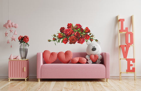 Bundles Of Roses Red Wall Decal