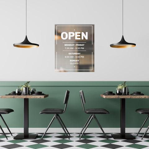 business hours wall decal