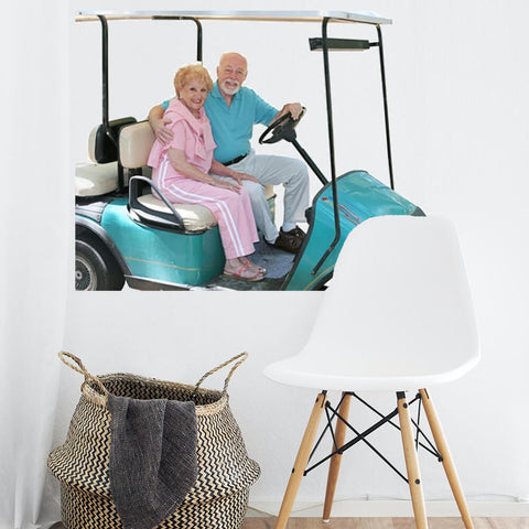 Senior Couple in Golf Cart Decal
