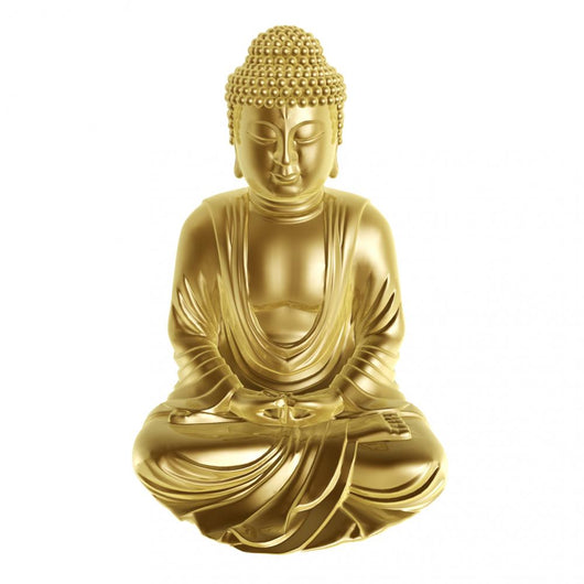 Golden Buddha Sitting Cross-Legged on White Background Wall Decal