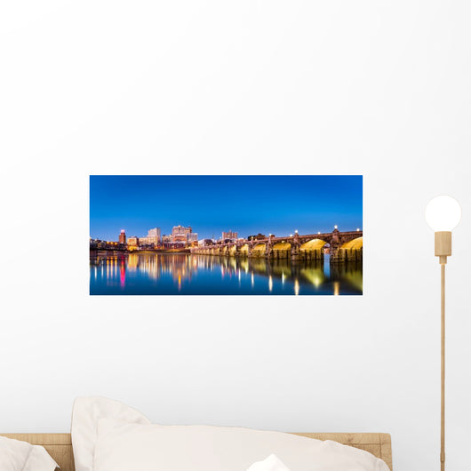 Harrisburg Pennsylvania Panorama Skyline at Night Wall Decal