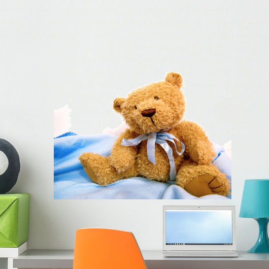 Teddy Bear on White and Blue Wall Decal