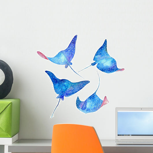 Blue Devil Fish Stingrays Wall Decal Sticker Set