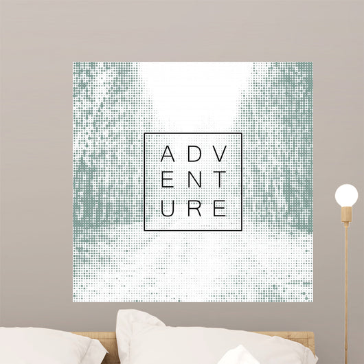 Adventure poster design yemplate. Halftone background with road Wall Mural