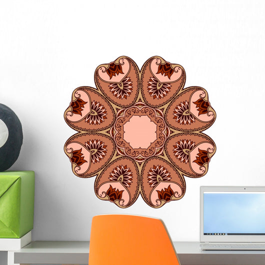 Brown Mehndi Lotus Mandala Wall Decal