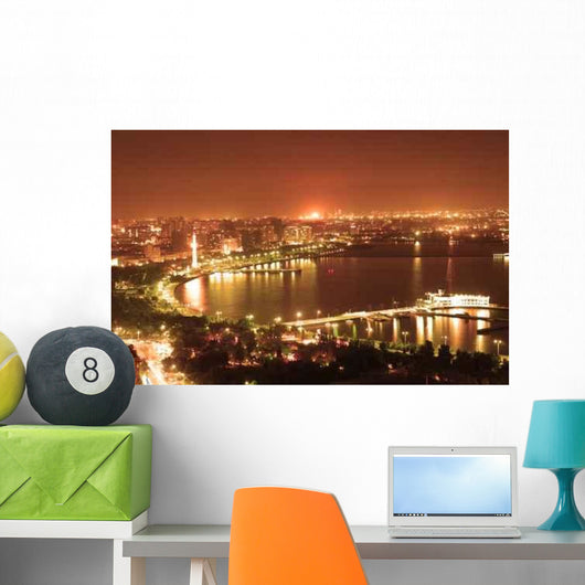 Baku City Night Wall Decal