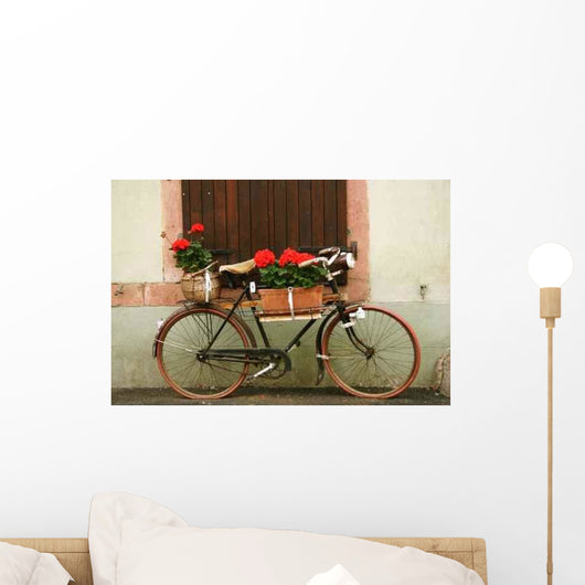 Alsatian Bike Flowers Wall Decal