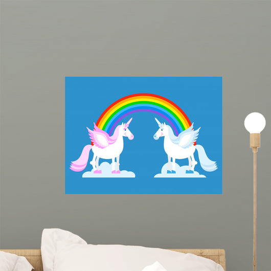 Unicorn and Rainbow Two Wall Decal