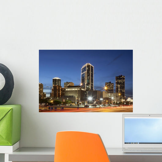 Fort Worth Downtown Night Wall Decal