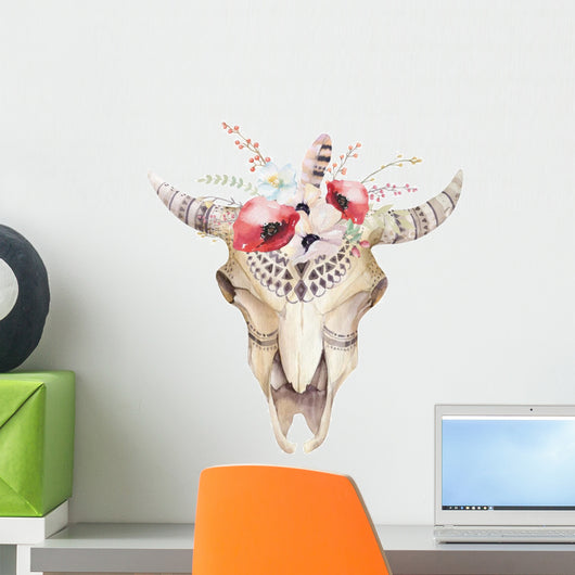 Watercolor Bohemian Cow Skull with Red Flowers Wall Decal