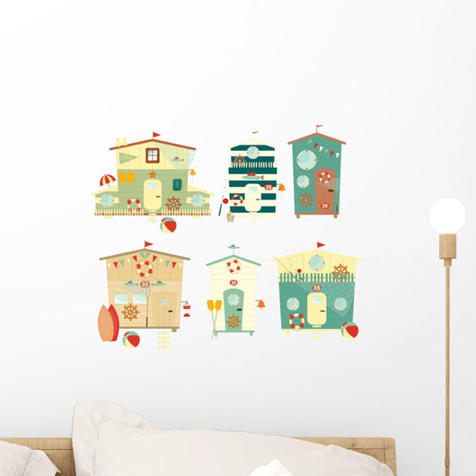 beach huts wall stickers – wallmonkeys