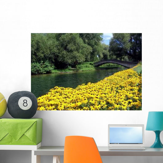 Bridge and Black-eyed Susans Wall Decal