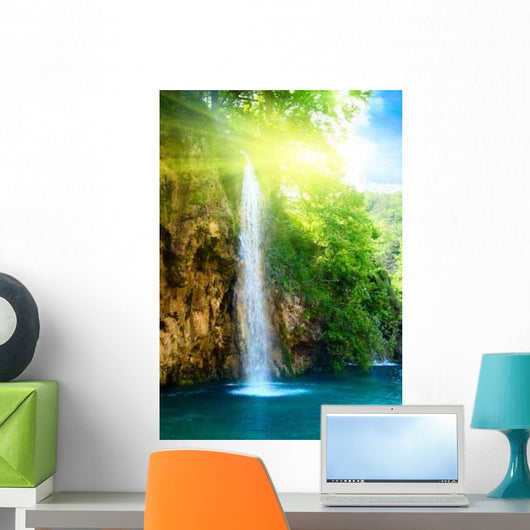 Waterfall Deep Forest Wall Decal Design 1
