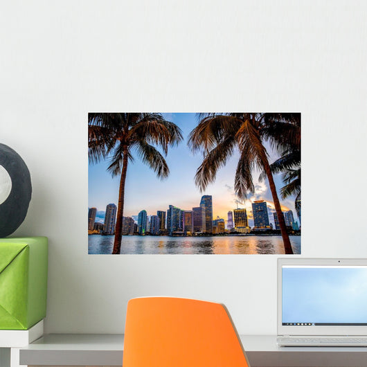 Miami Florida Skyline and Palm Trees Wall Decal