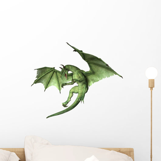 Green Fantasy Dragon in Flight Wall Decal